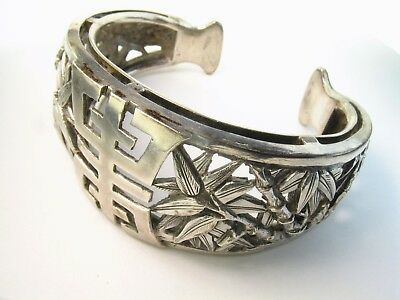"Antique Sterling Handmade Chinese Repousse Cuff ""Shou"" French Indo-Chinese"