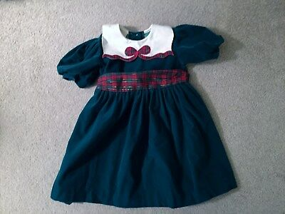 OshKosh Collection Vintage Girls 3T Green Holiday Dress Pre-Owned