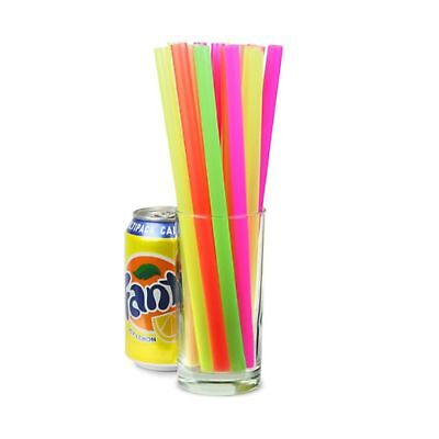 Mega Jumbo Neon Straws 9inch - Pack of 200 - Assorted Colour Smoothie and Mil...