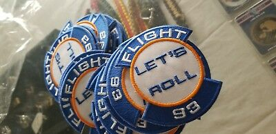 New Flight 93 Let's Roll 3 1/4 tall Biker Patch    ADHESIVE OR SEW
