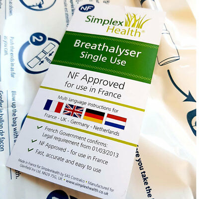 NF Certified Single Alcohol Breathalyser Tester for FRANCE Legal FRENCH Driving