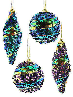 Large Sequin Peacock Bauble Christmas Decorations Ornaments Xmas Hanging Festive