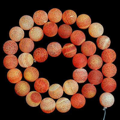 Natural 10mm Orange Frosted Agate Round Loose Beads Gemstone 15''