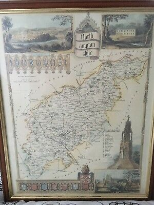 map of Northamptonshire, framed Thomas Moule colour print