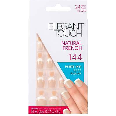 Elegant Touch - False Nails - Natural French 144 - Petite Bare (XS) 24 X Glue On