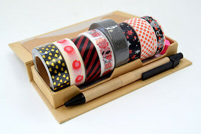 New 8rolls x 15mm Japanese Washi Craft Tape Gold Red Black Glitter Mix AU1.70 ea