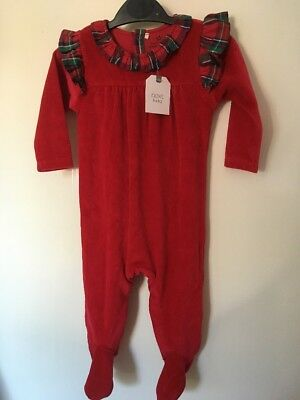 Baby Girls 3-6 Months Next Red Rartan Velour Sleepsuit Bnwt Christmas New