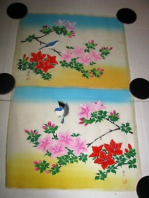 2 Vintage Hand Painted Signed Silk Art Asian Chinese Birds and Flowers