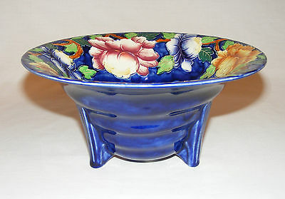 Fabulous Maling England 3 D Raise Majolica Cobalt Roses Art Deco Footed Bowl