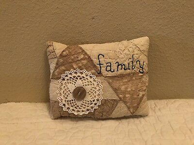 Primitive Vintage Quilt Pillow Stitched Family Tan/gold/ivory Shelf Sitter 8x7