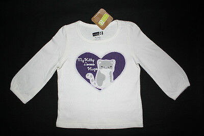 """NWT: New Crazy 8  6-12 Month Off-White & Purple """"My Kitty Loves Hugs"""" Shirt"""