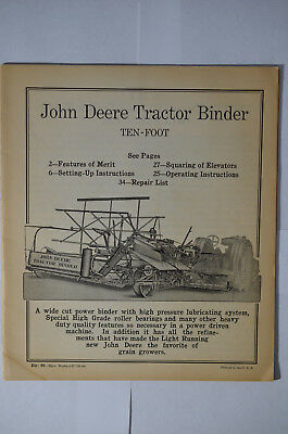 John Deere Tractor Binder Manual and Parts List, ca 1927, Wraps