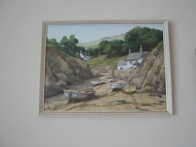 Original Signed Oil Painting Alan King Akin Roseland Cornwall 1980