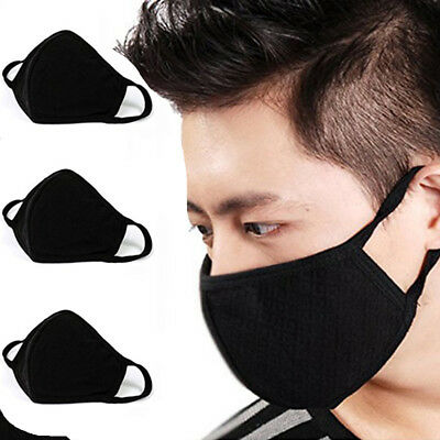 2PCS Unisex Black Health Cycling Anti-Dust Cotton Mouth Face Mask Respirator US