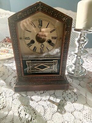 Art Deco Wooden Clock not working but lovely piece with key