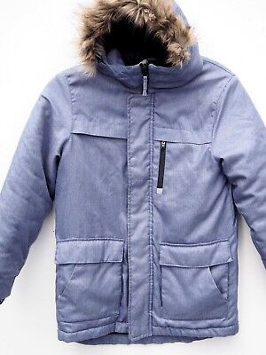 Fantastic NEXT Boy's Pale Blue Chambray Denim Effect Hooded Parka Coat age 10 yr