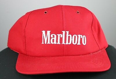 54415313f6a Marlboro Red Snapback Hat Cap Cigarettes Embroidered Cotton Blend USA