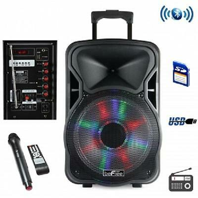 "beFree Sound 15""*BLUETOOTH*Portable Rechargeable DJ PA PARTY SPEAKER*with LIGHTS"