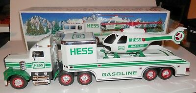 Hess Gasoline Tractor,Trailer, helicopter 1995 in original box, lights & action