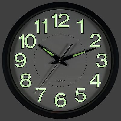 Large Glow In The Dark Non-Ticking Wall Clock Silent Quartz Decor Home Office