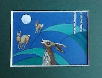 ACEO original abstract painting 'The Hares on the Hill'  by AlisonE
