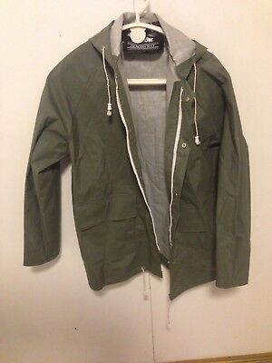 Vintage Barbour  green Rain Jacket Size mens small hooded beacon suit