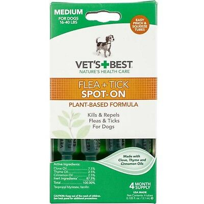 Vet's Best Flea and Tick Spot-On for Medium Dogs 16-40 LBS 4 Month Supply
