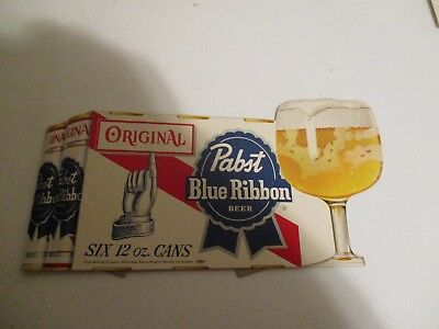 NOS Pabst Blue Ribbon Beer Six 12 oz. cans display cardboard