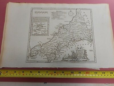 100% Original Cornwall Map By T Kitchin  C1786 Vgc Low Start