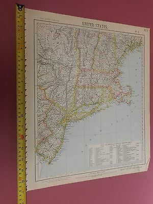 100% Original New England New York United States Map By Letts C1892 Vgc Sheet 2