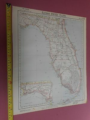 100% Original Florida Miami United States Map By Letts C1892 Vgc Sheet 10