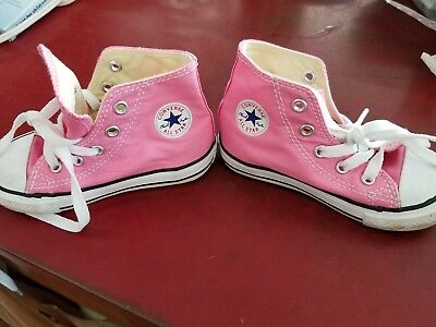 60c4faa9a9d5 Baby Toddler Girls Pink Converse All Star Chuck Taylor High Tops Shoes Size  7