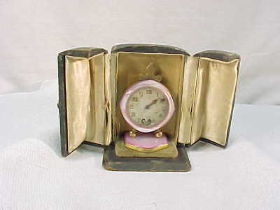 Antique Pink Brevet Miniature Traveling Clock & Leather Case