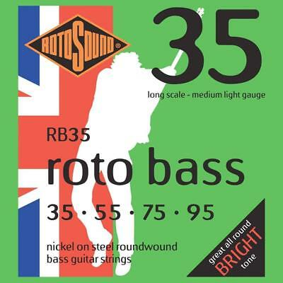 Rotosound Roto Bass Jeu de cordes pour basse Nickel Filet rond Tirant medium...