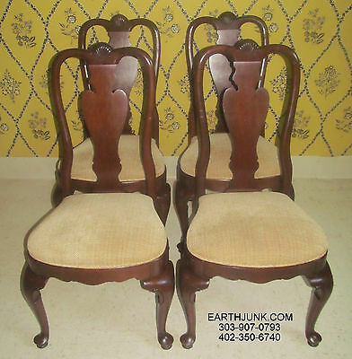 Ethan Allen Georgian Court Set of 4 Cherry Carved Queen Anne Side Chairs 11 6221