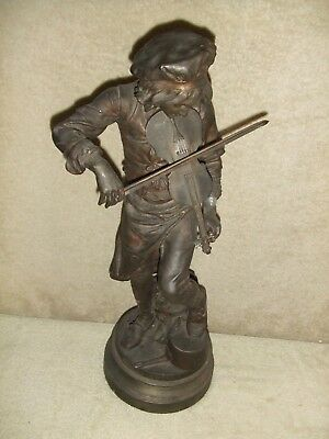 "LARGE French statue ""LULLI"" same as ANSONIA MELODY Clock great spelter piece!"
