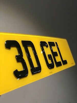 Pair THICK 3D BLACK Gel Resin Domed Number Plates - Free Fixing Kit