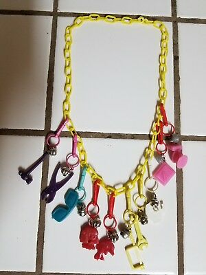 Vintage 80s Plastic Bell Charm Necklace Retro Clip On 1980s    3