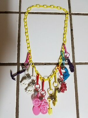 Vintage 80s Plastic Bell Charm Necklace Retro Clip On 1980s    4