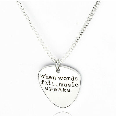 Lady When Words Fail Music Speaks Inspirational Quote Pendant Letter Necklace D
