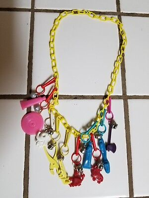 Vintage 80s Plastic Bell Charm Necklace Retro Clip On 1980s    6