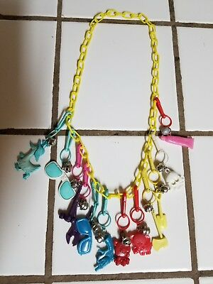 Vintage 80s Plastic Bell Charm Necklace Retro Clip On 1980s    5