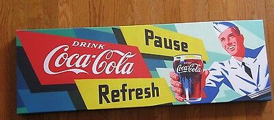 Coca-Cola Stretched Canvas Giclee Print 12 by 36 Art New With Tag Coke Waiter