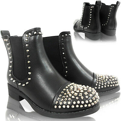 75373132b Ladies Low Heel Studded Toe Chelsea Ankle Boots Size Gusset Grunge Biker  Riding