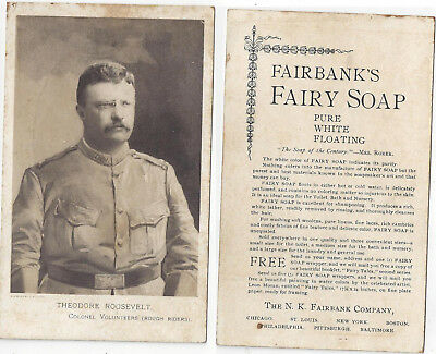 1890s Cabinet Card Fairbank Soap Ad Featuring Theodore Roosevelt Of Rough Riders