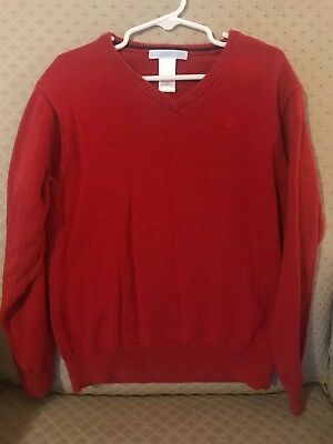 Janie And Jack Boy Red Vneck Cotton Sweater Size 6 EUC