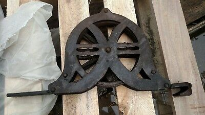 Large Antique Industrial Theater Stage Curtain Rigging Iron Pulley Steampunk