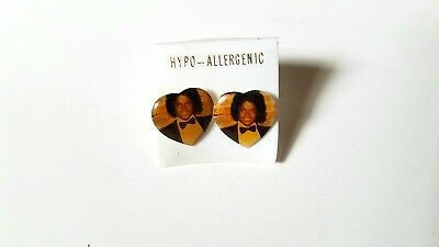 Rare Vintage Michael Jackson Off The Wall Heart Earrings - 80S Album Jewelry Set