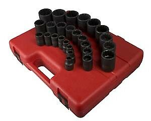 "Sunex Tools 2826 26 Pc 1/2"" Dr 12 Pt Metric Socket Set"