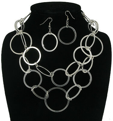 Necklace Pierced Earrings Chain New Silver Tone Big Link